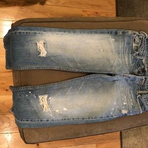 Hollister cropped jeans with white splatter